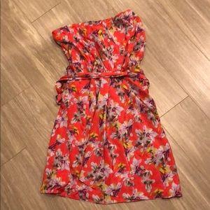 Express gathered strapless dress